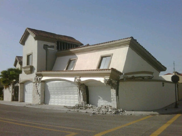 Collapsed House Earthquake Mexicali Mexico 4th April 2010