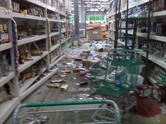 Grocery store in Mexicali Mexico Earthquake 4th April 2010