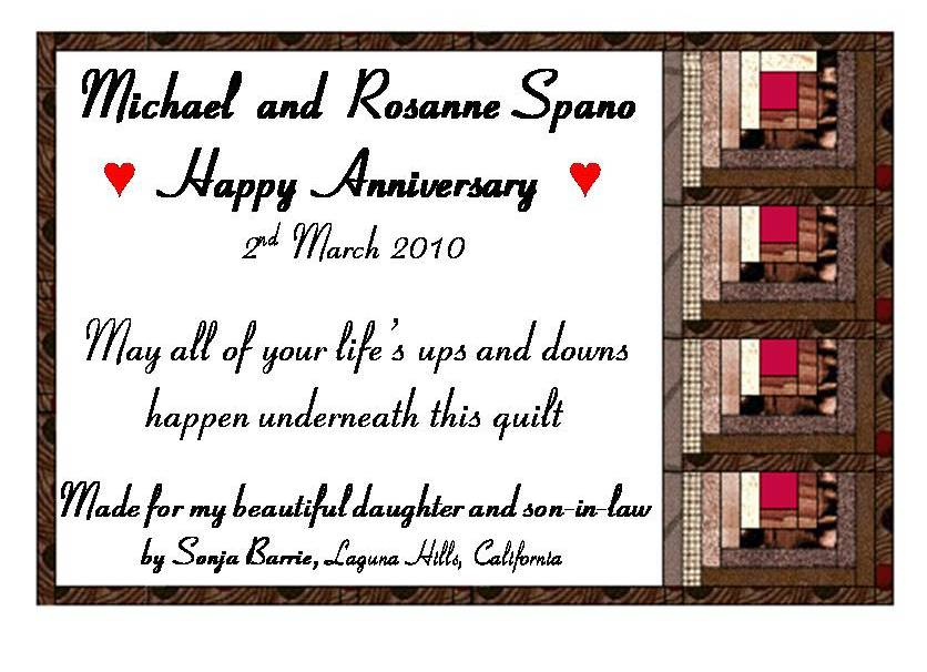 Michael and Rosanne Quilt Label