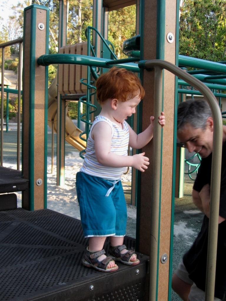 Grandpa and Leo having fun at the local park