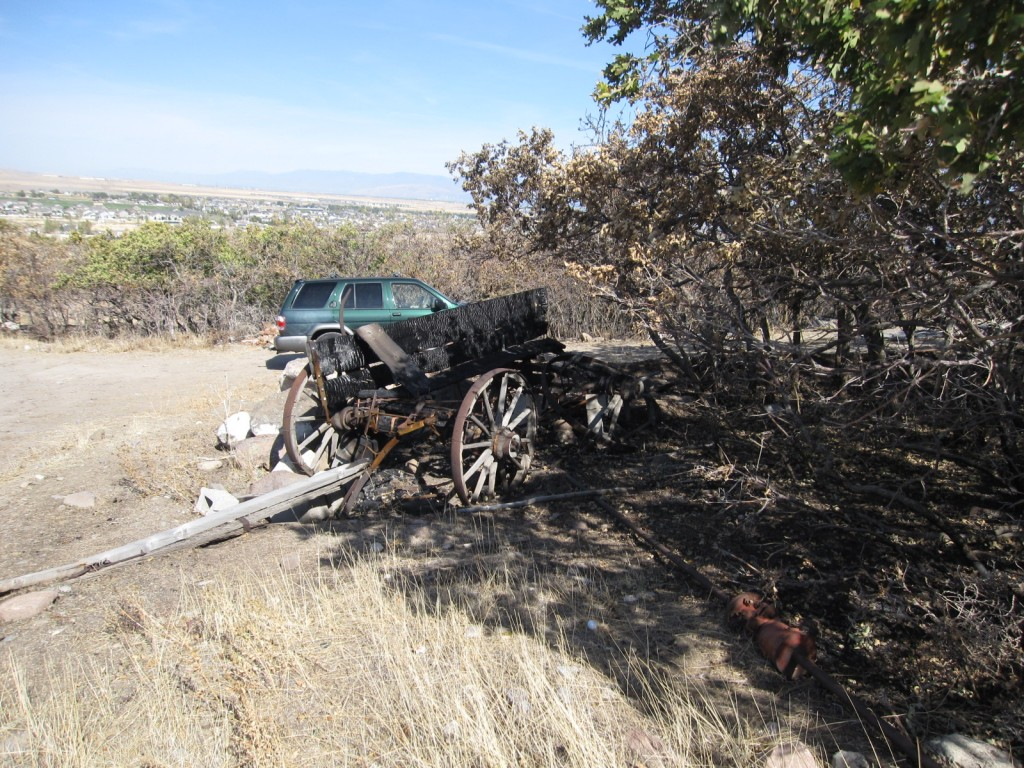 The burnt side of a wagon after the fire in Herriman