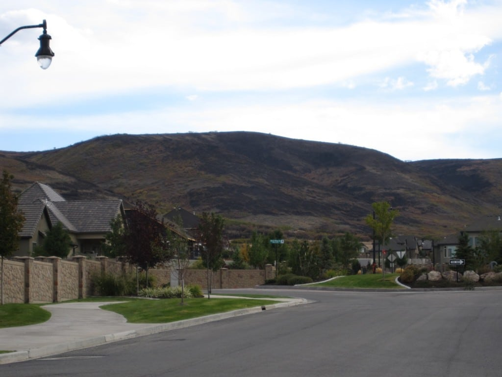 Fire in Herriman showing some burnt spots