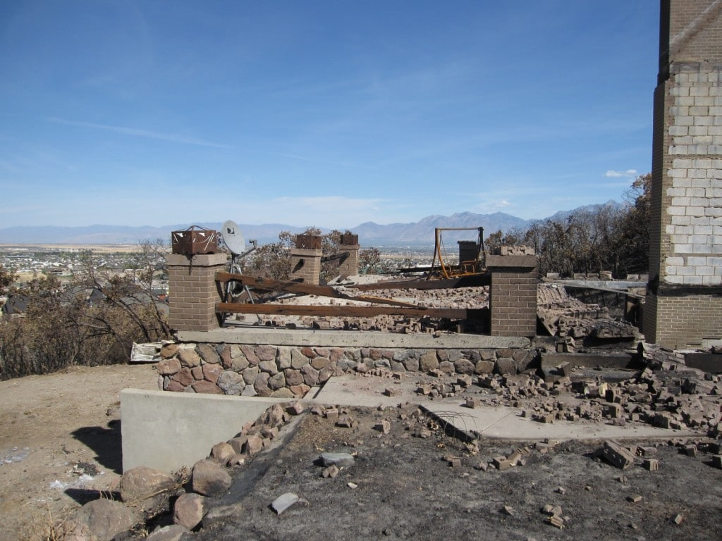Foundation of a house after the fire in Herriman