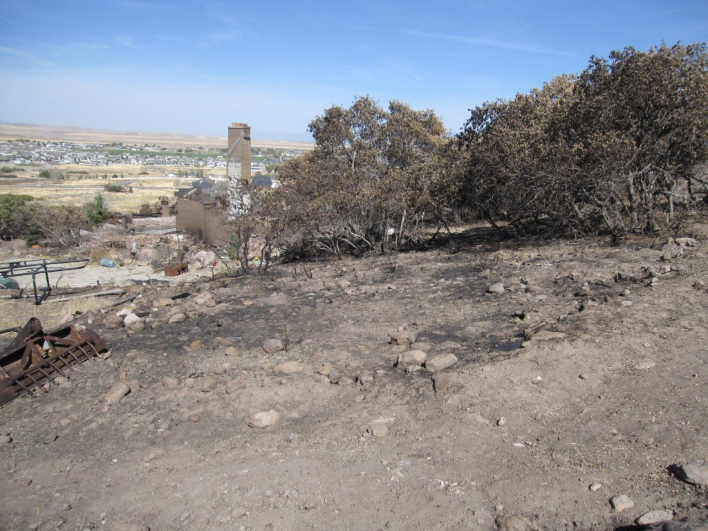 Area behind the house that burnt in the fire in Herriman
