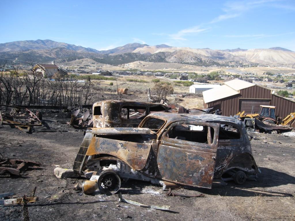 Fire in Herriman, skeletons of restored cars