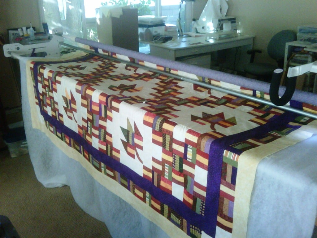 Sonia's quilt on the frame