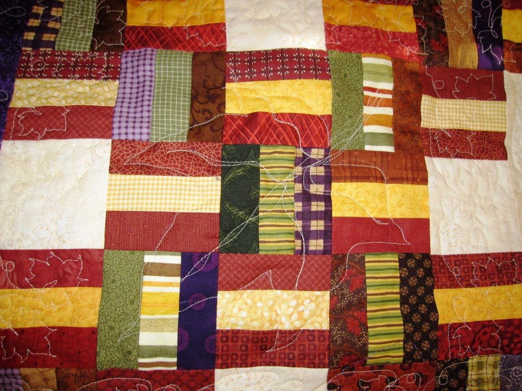 maple leaf outline on Sonias quilt