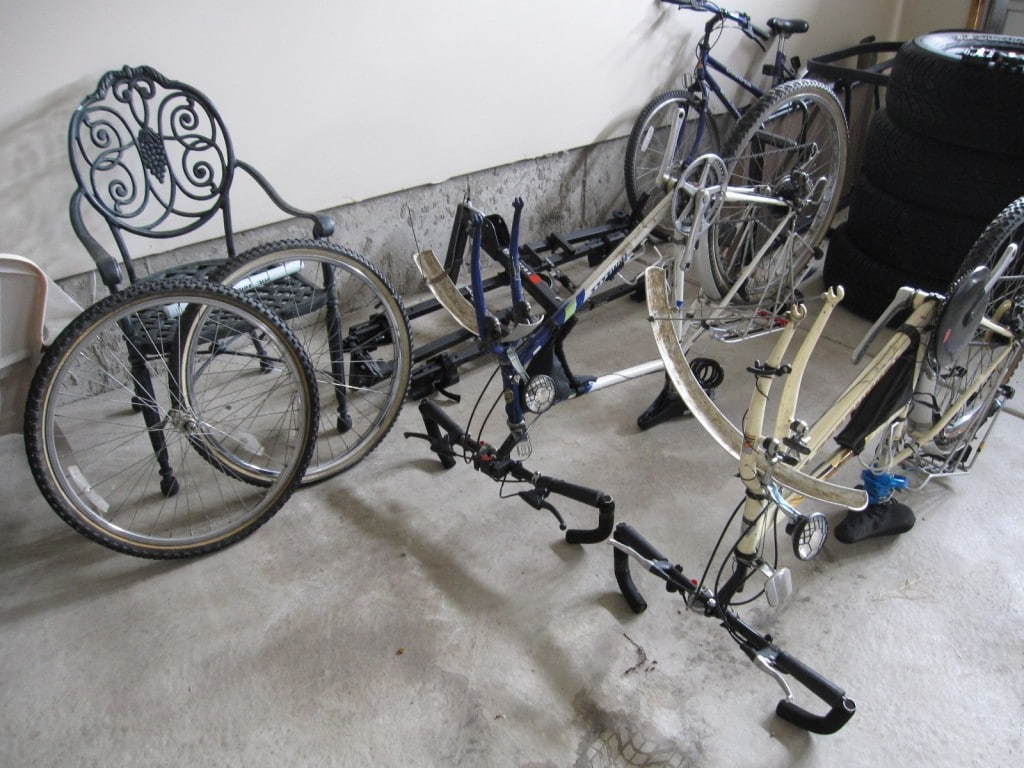 Our bikes with no wheels or pedals