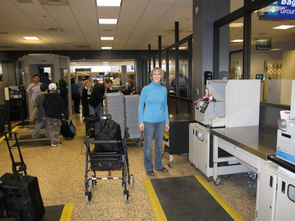 Here I am with Nana going through airport security.