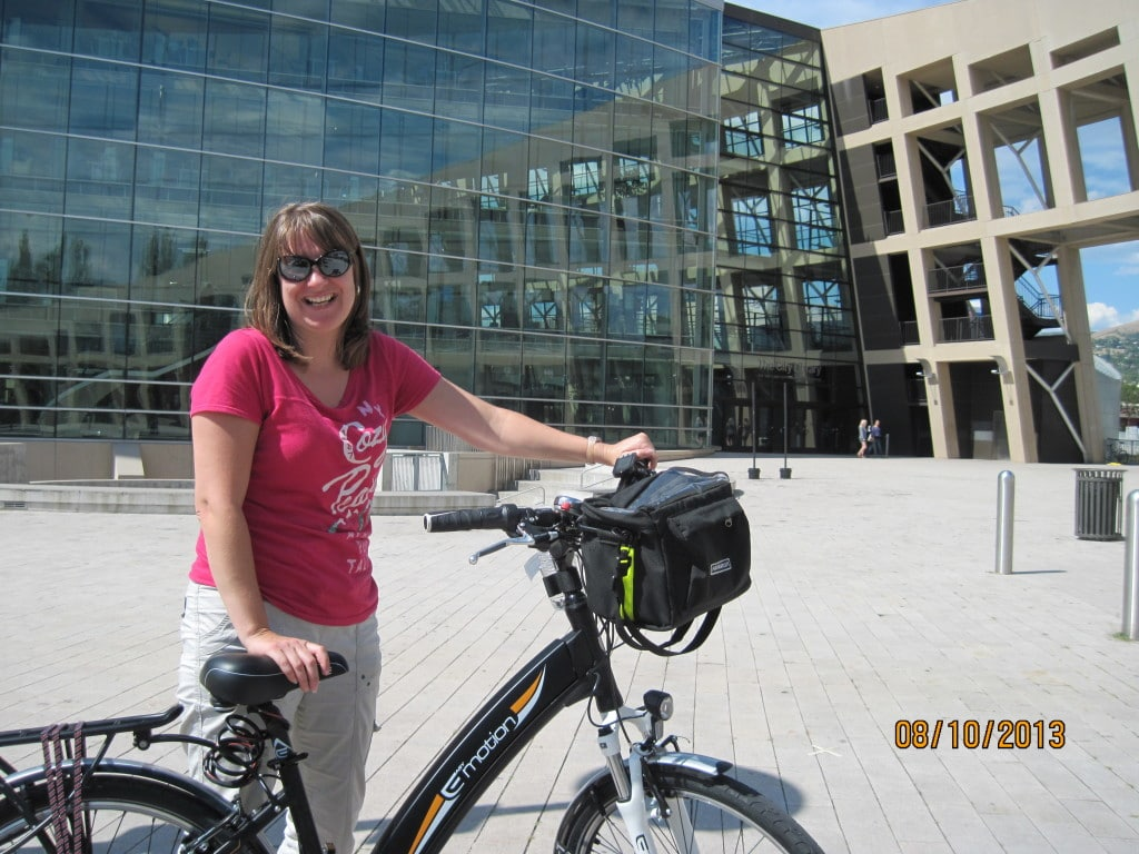 Rachael riding my bike in downtown Salt Lake City