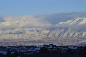The Wasatch Mountains covered in winter snow.
